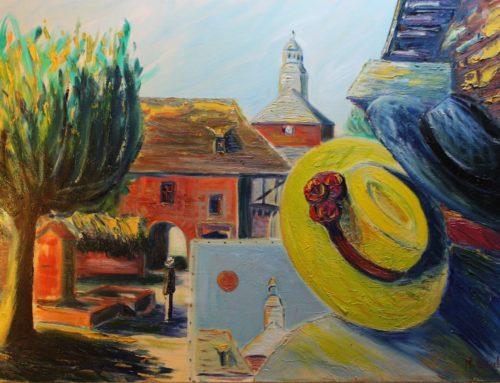 Le peintre et sa muse, place de la fontaine