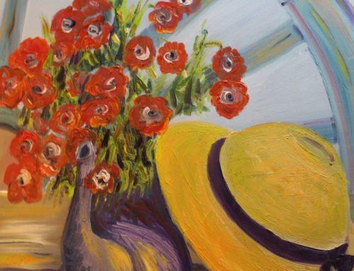 Charrette, bouquet et chapeau