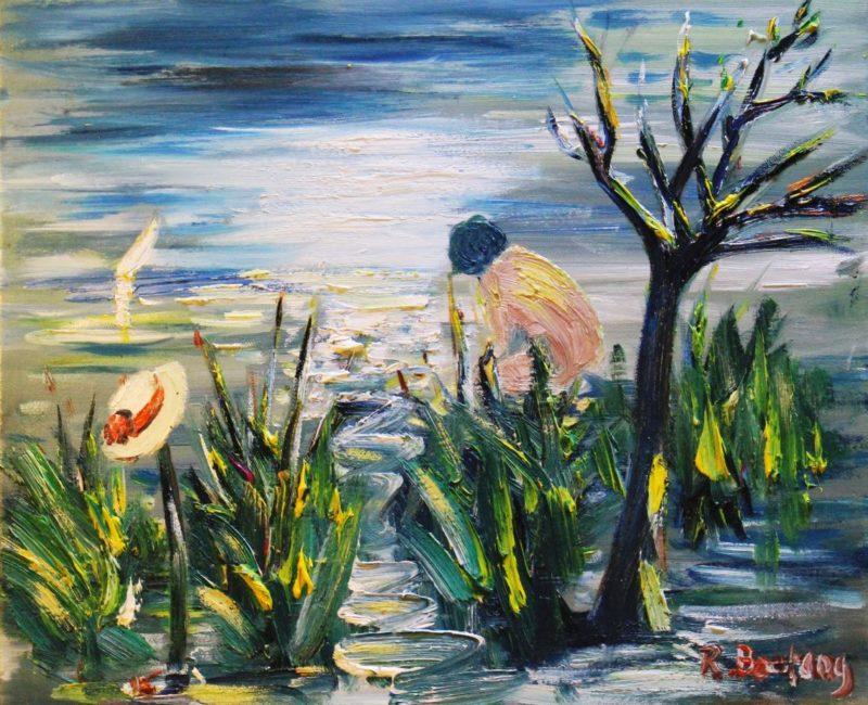 Seule à l'étang