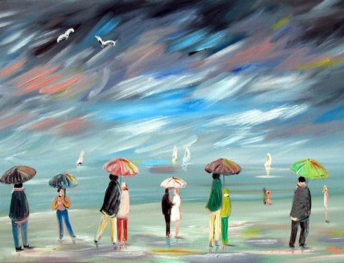 Multicolored umbrellas. The dance of the umbrellas