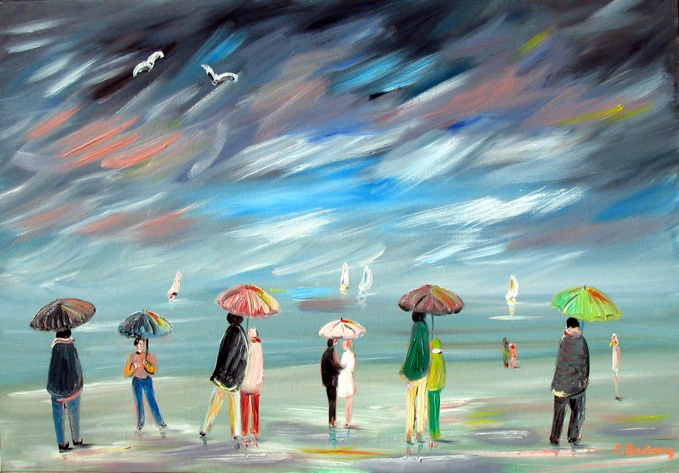 Artwork for sale René Boutang Collonges la rouge Multicoloured umbrellas
