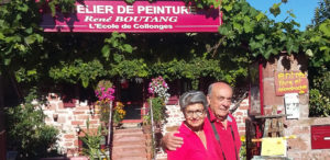 René Boutang and Laxmy in front of the painting studio René Boutang in Collonges la Rouge