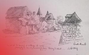 Dessin de l'atelier de peinture René-Boutang à Collonges-la-Rouge Corrèze France