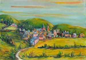 Artwork for sale René Boutang Collonges la rouge Overview of Collonges-la-Rouge. My ruby