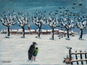 Vente œuvre d'art René Boutang Collonges la Rouge À deux dans la neige