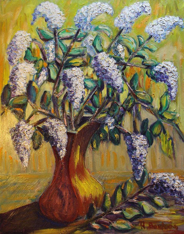 Bouquet of lilacs and branch