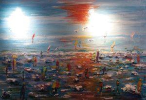 Artwork for sale René Boutang Collonges la rouge Evening at low tide