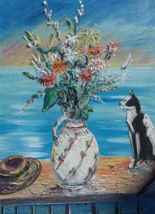 Artwork for sale René Boutang Collonges la rouge Bouquet Chapon and cat