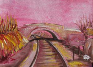 Artwork for sale René Boutang Collonges la rouge The railway line Paris-Toulouse via Capdenac Les Quatres Routes