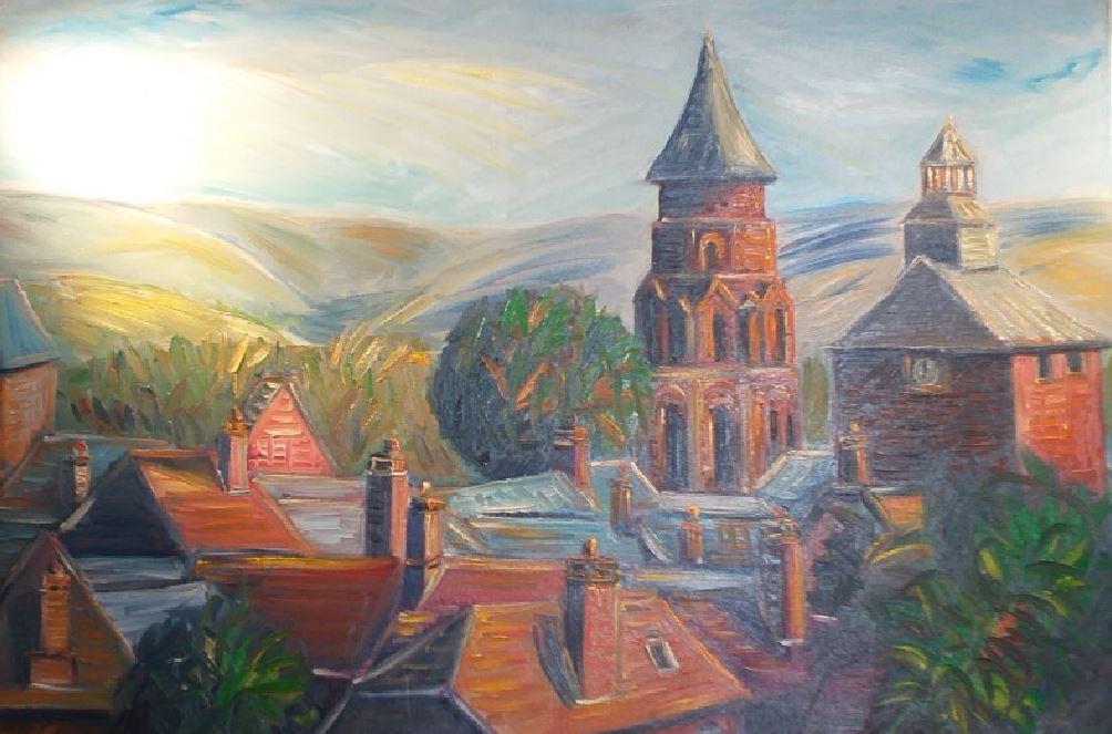 Artwork for sale René Boutang Collonges la rouge Church of Saint Peter in Collonges-La-Rouge