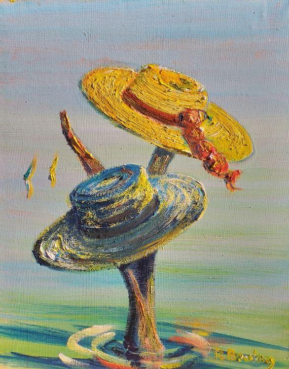 Artwork for sale René Boutang Collonges la rouge Couples de chapeaux confinés