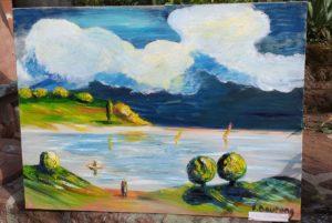 Vente peinture Lac de Serre Ponçon René Boutang Collonges-la-rouge