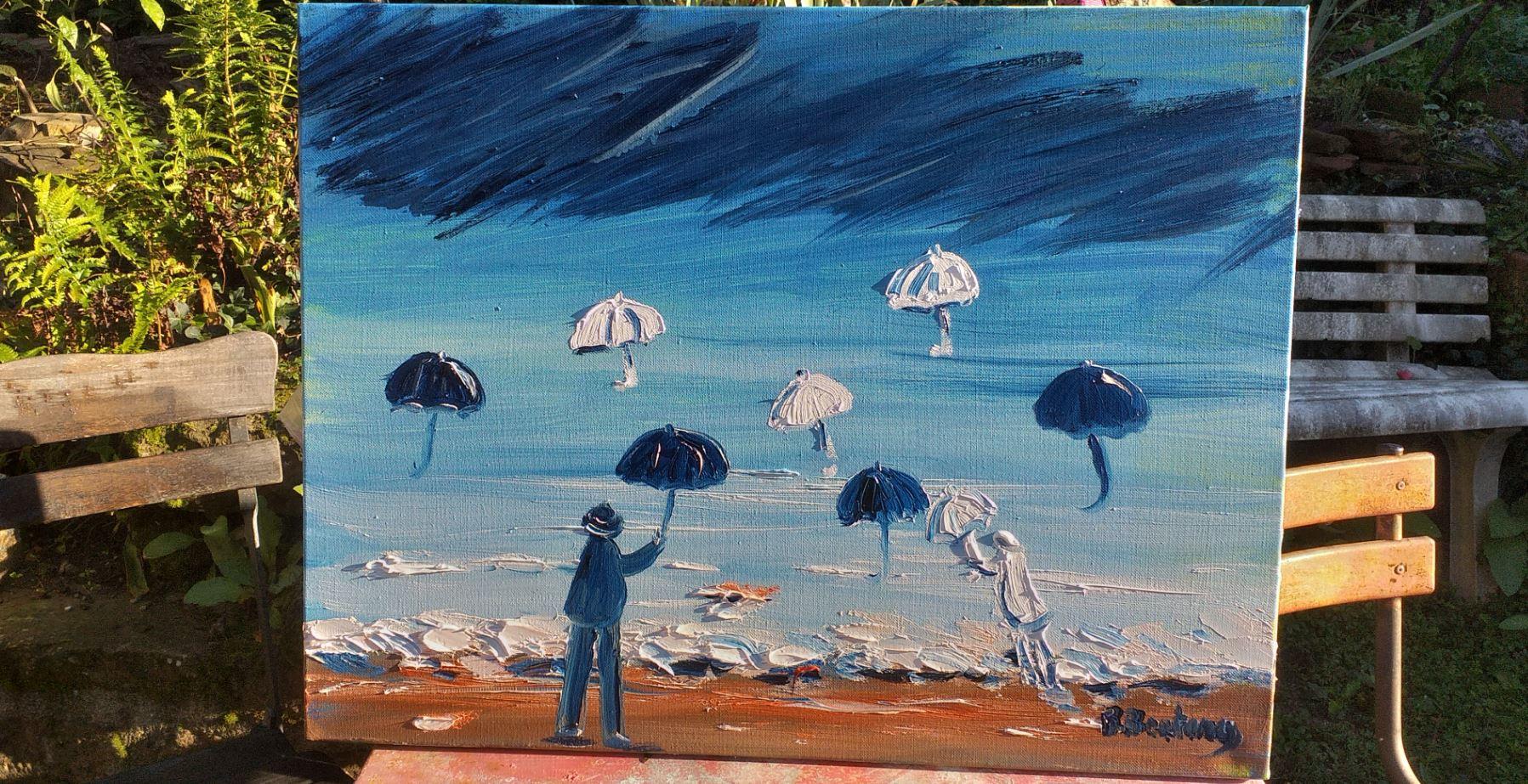 Vente peinture Eloge du parapluie René Boutang Collonges-la-rouge