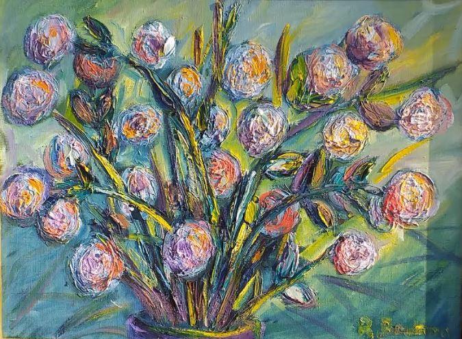 Vente peinture Corrèze Bouquet Fantastique René Boutang Collonges la rouge