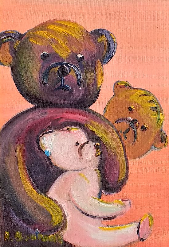 Artwork for sale Teddy bears family at the beach René Boutang Collonges la rouge