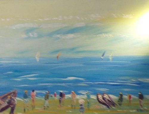 Mer bleue et ciel moutonné