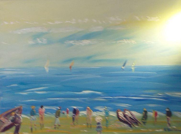 Artwork for sale René Boutang Collonges la rouge Mer bleue et ciel moutonné