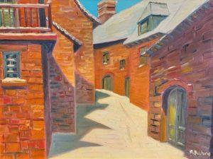 Vente peinture René Boutang Collonges la Rouge La rue noire en blanc