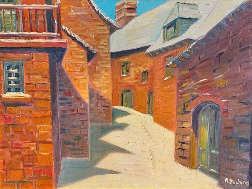 Painting for sale René Boutang Collonges la Rouge La rue noire en blanc