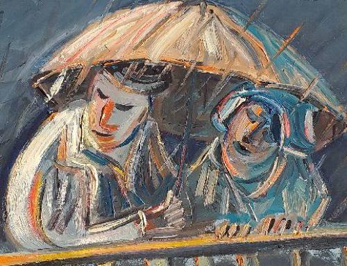 A corner of an umbrella
