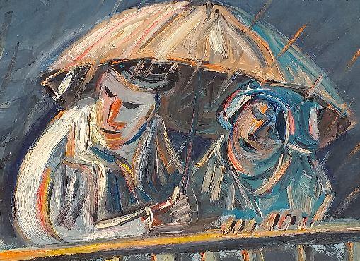 Vente peinture Un coin de parapluie René Boutang Collonges la rouge