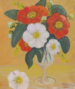 Vente œuvre d'art René Boutang Bouquet de camélias